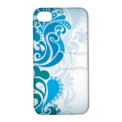 Garphic Leaf Flower Blue Apple iPhone 4/4S Hardshell Case with Stand