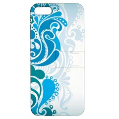 Garphic Leaf Flower Blue Apple iPhone 5 Hardshell Case with Stand