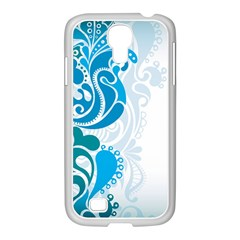 Garphic Leaf Flower Blue Samsung GALAXY S4 I9500/ I9505 Case (White)
