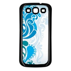 Garphic Leaf Flower Blue Samsung Galaxy S3 Back Case (Black)