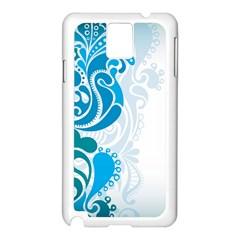 Garphic Leaf Flower Blue Samsung Galaxy Note 3 N9005 Case (White)