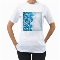 Garphic Leaf Flower Blue Women s T-Shirt (White)