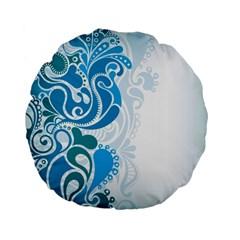 Garphic Leaf Flower Blue Standard 15  Premium Flano Round Cushions