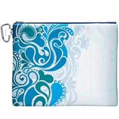 Garphic Leaf Flower Blue Canvas Cosmetic Bag (XXXL)