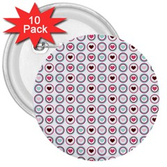 Circle Love Heart Purple Pink Blue 3  Buttons (10 pack)