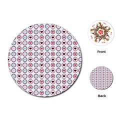 Circle Love Heart Purple Pink Blue Playing Cards (Round)