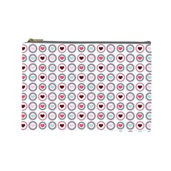 Circle Love Heart Purple Pink Blue Cosmetic Bag (Large)