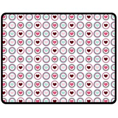 Circle Love Heart Purple Pink Blue Fleece Blanket (Medium)