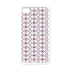 Circle Love Heart Purple Pink Blue Apple iPhone 4 Case (White)