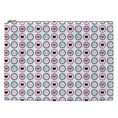 Circle Love Heart Purple Pink Blue Cosmetic Bag (XXL)