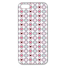 Circle Love Heart Purple Pink Blue Apple Seamless iPhone 5 Case (Clear)