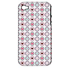 Circle Love Heart Purple Pink Blue Apple iPhone 4/4S Hardshell Case (PC+Silicone)