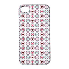 Circle Love Heart Purple Pink Blue Apple iPhone 4/4S Hardshell Case with Stand