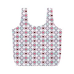 Circle Love Heart Purple Pink Blue Full Print Recycle Bags (M)