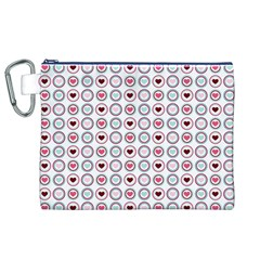 Circle Love Heart Purple Pink Blue Canvas Cosmetic Bag (XL)