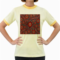 Circle Flower Art Aboriginal Brown Women s Fitted Ringer T Shirts