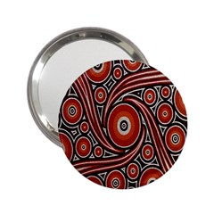 Circle Flower Art Aboriginal Brown 2.25  Handbag Mirrors