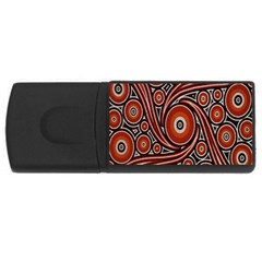 Circle Flower Art Aboriginal Brown USB Flash Drive Rectangular (1 GB)
