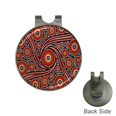 Circle Flower Art Aboriginal Brown Hat Clips with Golf Markers