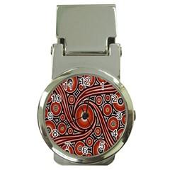 Circle Flower Art Aboriginal Brown Money Clip Watches