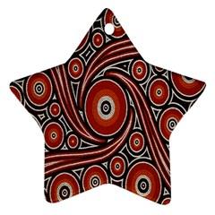 Circle Flower Art Aboriginal Brown Star Ornament (Two Sides)