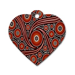 Circle Flower Art Aboriginal Brown Dog Tag Heart (Two Sides)