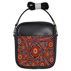 Circle Flower Art Aboriginal Brown Girls Sling Bags