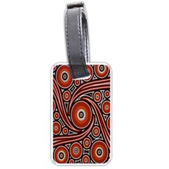 Circle Flower Art Aboriginal Brown Luggage Tags (Two Sides)
