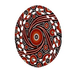 Circle Flower Art Aboriginal Brown Oval Filigree Ornament (Two Sides)