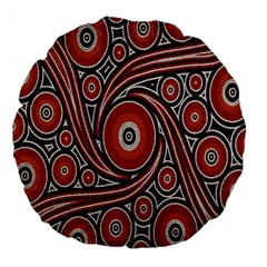 Circle Flower Art Aboriginal Brown Large 18  Premium Round Cushions