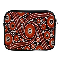 Circle Flower Art Aboriginal Brown Apple iPad 2/3/4 Zipper Cases