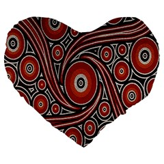 Circle Flower Art Aboriginal Brown Large 19  Premium Flano Heart Shape Cushions
