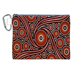 Circle Flower Art Aboriginal Brown Canvas Cosmetic Bag (XXL)