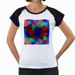 Floral Flower Rainbow Color Women s Cap Sleeve T