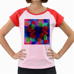 Floral Flower Rainbow Color Women s Cap Sleeve T Shirt