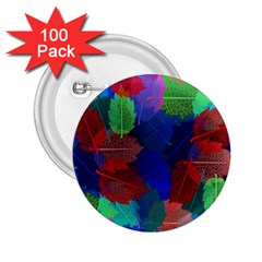 Floral Flower Rainbow Color 2.25  Buttons (100 pack)