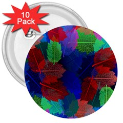 Floral Flower Rainbow Color 3  Buttons (10 pack)