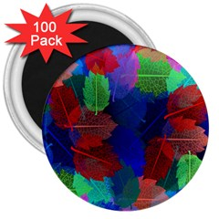 Floral Flower Rainbow Color 3  Magnets (100 pack)