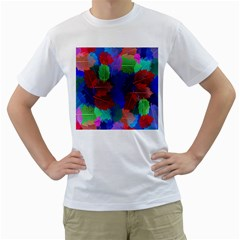 Floral Flower Rainbow Color Men s T-Shirt (White) (Two Sided)