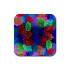 Floral Flower Rainbow Color Rubber Coaster (Square)