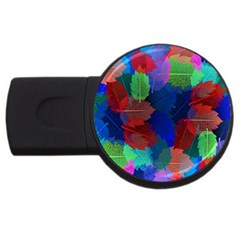 Floral Flower Rainbow Color USB Flash Drive Round (1 GB)
