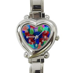 Floral Flower Rainbow Color Heart Italian Charm Watch