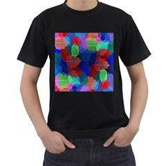 Floral Flower Rainbow Color Men s T Shirt (black) (two Sided)