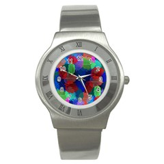 Floral Flower Rainbow Color Stainless Steel Watch