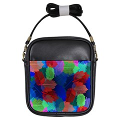 Floral Flower Rainbow Color Girls Sling Bags