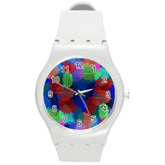 Floral Flower Rainbow Color Round Plastic Sport Watch (M)