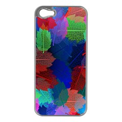 Floral Flower Rainbow Color Apple iPhone 5 Case (Silver)