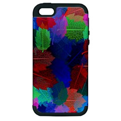 Floral Flower Rainbow Color Apple iPhone 5 Hardshell Case (PC+Silicone)