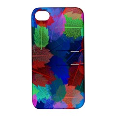 Floral Flower Rainbow Color Apple iPhone 4/4S Hardshell Case with Stand