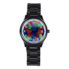 Floral Flower Rainbow Color Stainless Steel Round Watch